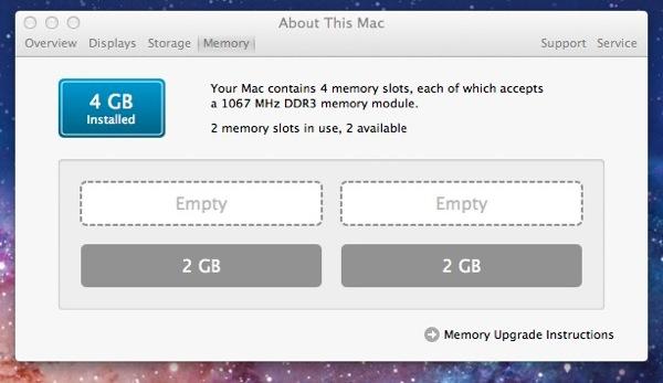 Imac memory 4GB