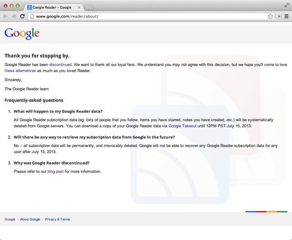 Google reader thankyou