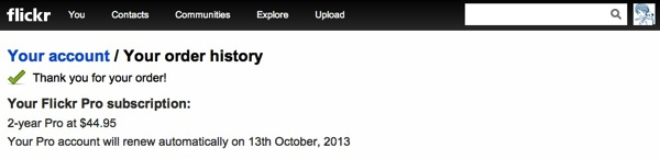 Flickr Your Order History 20130917